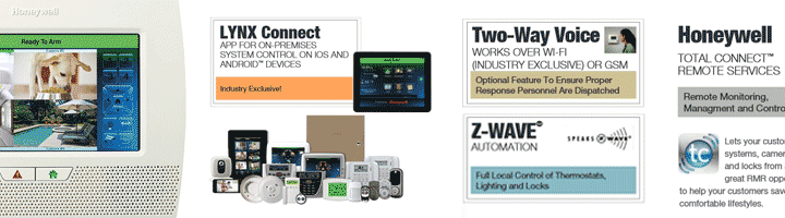 Lynx Touch 7000 all-in-one home and business control system with 4 video cameras